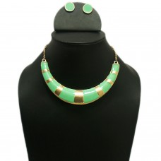 Enamelled green hasli necklace set