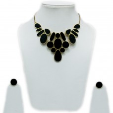 Abstract enamelled black necklace set