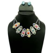 Royal silver color necklace set