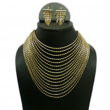Elegant Multistrand golden egyptian necklace set