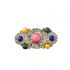Ethnic silver tone studed brooch