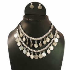Dual strand silver tone coin necklace set