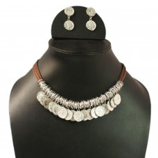 Single strand silver tone coin necklace set