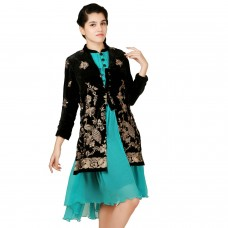 Embellished Black Velvet Zari Jacket