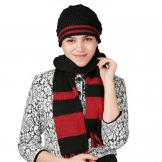 Stylish Black and Red handmade cap and Muffler