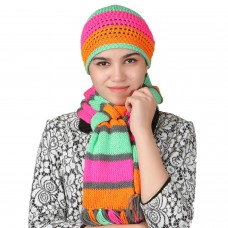 Stylish fluorescent handmade cap and muffler