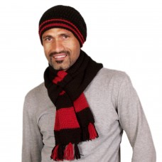 Stylish Black and Red handmade Muffler and Cap