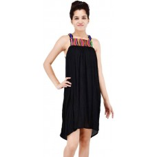 Stylish Black cotton sleeveless dress