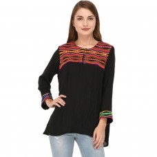 Black cotton embroidered peasant top