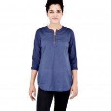 Royal Blue Rayon Zip kurta