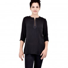 Black cotton crepe kurta