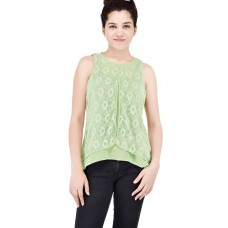 Parrot green layered top