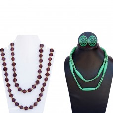 combo of elegant long chain necklaces