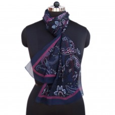 Printed Dark Blue Scarf