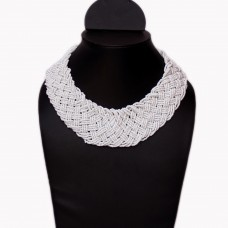 Contemporary white Seed Bead Necklace