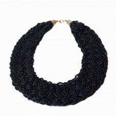 Contemporary black Seed Bead Necklace