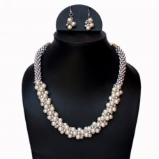 Elegant faux pearl and silver beads necklace set