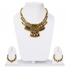 Golden temple jewellery necklace set