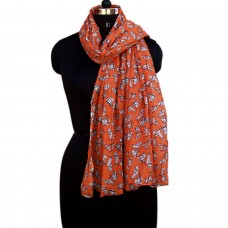 Scooter print orange cotton scarf