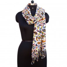 Multicolor printed viscose scarf