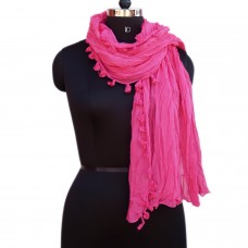 Crinkled Pink Cotton Scarf