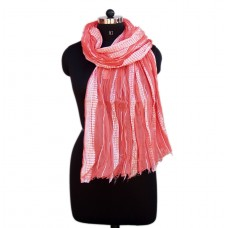 Glitttered silver and pink crinkled cotton scarf