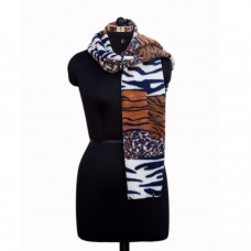 Soft faux fur printed scarf