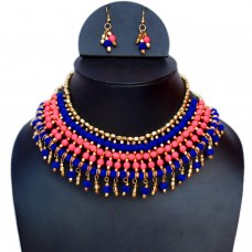 Contemporary fluorescent pink and velvet blue necklace