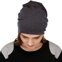 Trendy printed multipurpose fabric jersey beanie cap for men and women