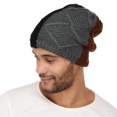 VR Designers mix colored soft wool winter handknitted cap for men