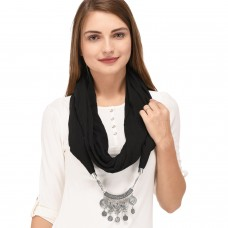 Black scarf necklace pendant scarf for women