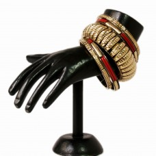 Classic red and golden metal bangle set