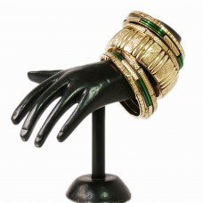 Classic green and golden metal bangle set