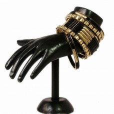 Classic black and golden metal bangle set