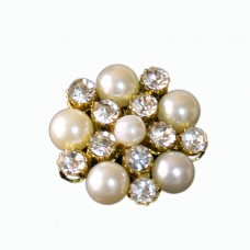 Elegant crystal and pearl brooch