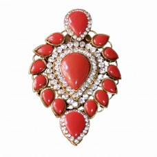 Glitsy orange studed brooch