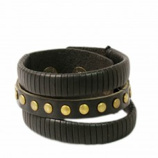 Black multistrand leather wrist band