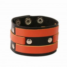 Trendy black and orange leather wrist band
