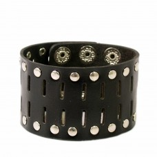 Stylish Black Cut Work leather wrist band