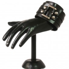 Trendy Black Strapped Leather wrist band
