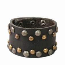 Trendy Studed Black Leather wrist band