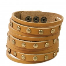 Trendy multilayered strap brown leather band