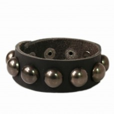 Cool Black Balls leather wrist band