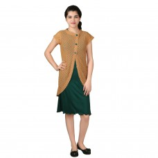 Flossy Butterscotch yellow long Shrug and green dress