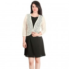 Elegant Cream sheer lace cape jacket