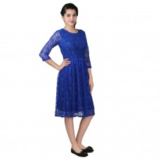 Blue fit and flare lace dress