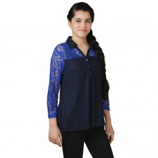 VR Designers lace trim blue top