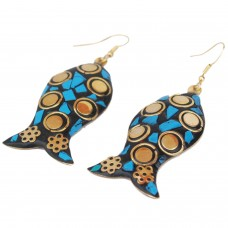 Trendy fish style blue and golden earrings
