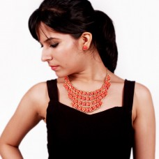 Orange chain and beads necklace