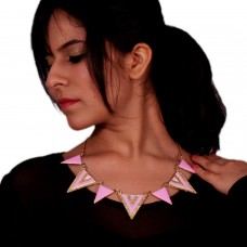 Stylish Pink triangle enamelled necklace